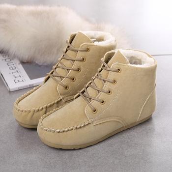 秋冬豆豆鞋女鞋短筒加绒短靴米色