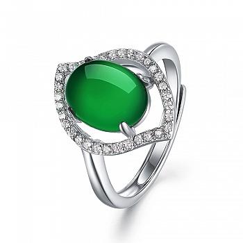 中国•925银镶玉髓复古开口戒指