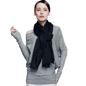 宝盛祥200支羊绒素色围巾黑色