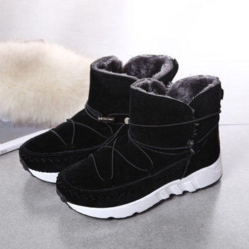 娅莱娅厚底松糕加厚棉鞋棉靴黑色