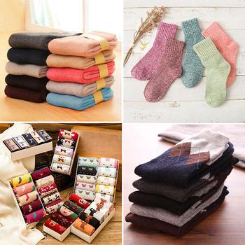 【59元/2件 69元/3件】5双装袜子加厚保暖兔羊毛男女袜