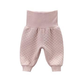 davebella女童高腰护肚裤子 深粉色
