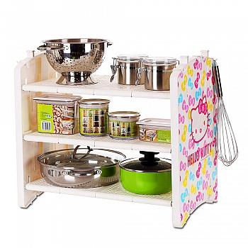 彩色蝴蝶结厨房3层架配6个挂钩