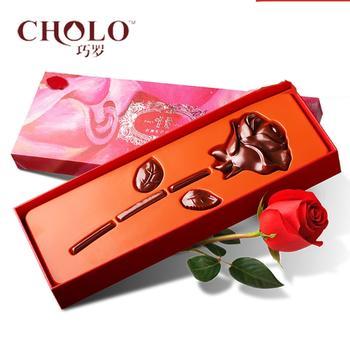 巧罗纯可可脂玫瑰型黑巧克力礼品