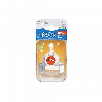 美国•布朗博士爱宝选流量1宽口硅胶奶嘴(国产2个装)