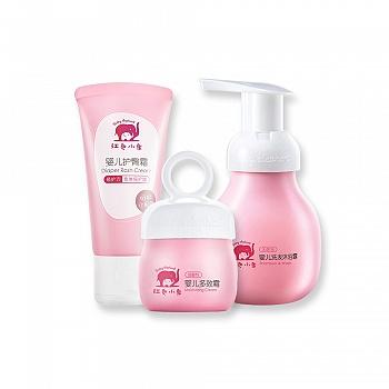 红色小象婴儿洗护三件套装(婴儿洗发沐浴露99ml+婴儿多效霜25g+婴儿护臀霜50g)