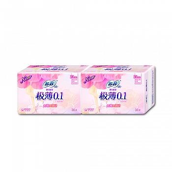 苏菲SOFY卫生巾弹力贴身极薄0.1棉柔表层230mm日用30片*2包