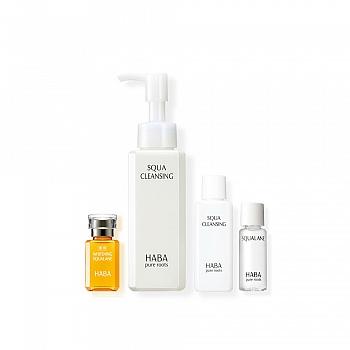 日本•HABA鲨烷美白油 +卸妆油 4件套组