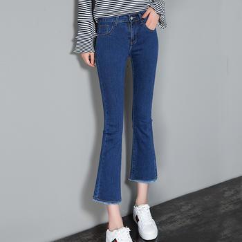 可奈丽莎四季可穿微喇牛仔裤女