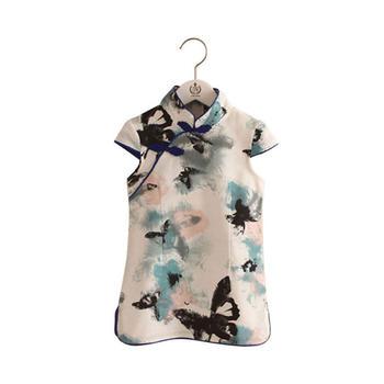 贝壳家族夏装女童童装中国风短袖旗袍qz2896