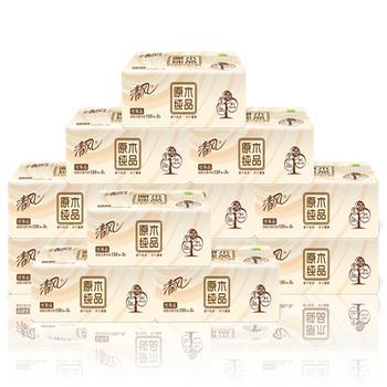 清风原木纯品软包抽纸3层12包湿水不易破妇婴可用
