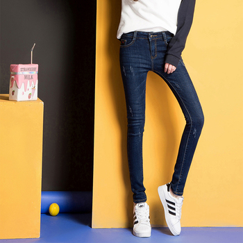 中国•新款牛仔裤女薄款w1701A修身显瘦
