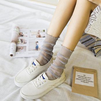 中国•维妮芳时尚珠光网纱袜堆堆袜四双