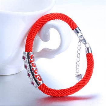 中国•E·weil s925银银饰镂空微镶红绳手链