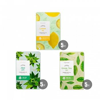 韩国•伊蒂之屋呵护美肌面膜套组 (柠檬20ml*5+芦荟20ml*5+绿茶20ml*5)