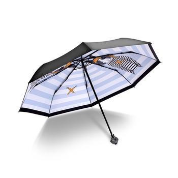 德国iRain三折海盗兔水钻蓝太阳伞