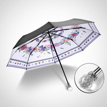 德国iRain三折绽放白色太阳伞