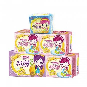 中国•七度空间少女系列纯棉表层特薄组合52片(日用30片+超长夜用8片+迷你日用14片)