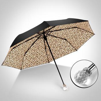 中国•德国iRain三折豹纹晴雨伞