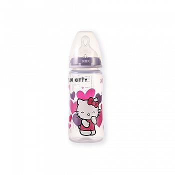 德国•NUK300ML宽口PP彩色Hello Kitty奶瓶(带成长型硅胶中圆孔奶嘴)