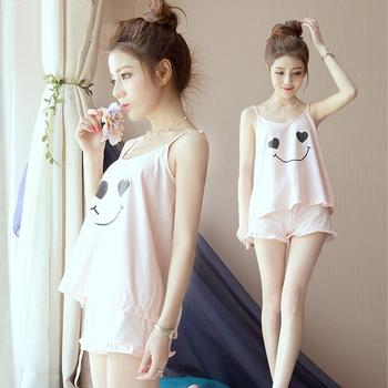 【送4双船袜】颖贝尔吊带女睡衣棉性感甜美两件套