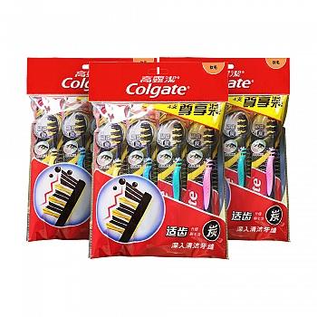 高露洁(Colgate)适齿炭牙刷四支装(升级含炭 软毛 超值装)*3