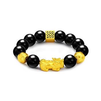 今上珠宝 转运珠貔貅黄金手链14mm