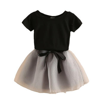 贝壳家族夏女短袖T恤纱裙两件套装tz3415黑衣灰裙
