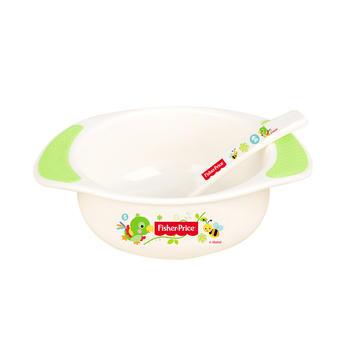 费雪防滑婴儿双耳碗配勺绿色