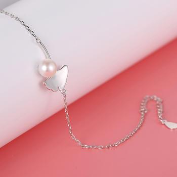 漂亮百合 925银淡水珍珠手链 银杏