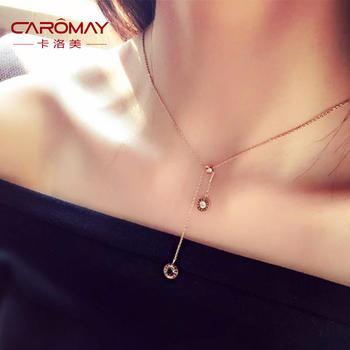 卡洛美 羅馬復古流蘇吊墜項鏈短款鎖骨鏈女時尚頸鏈