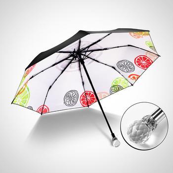 德国iRain折叠防晒柠檬黑胶晴雨伞