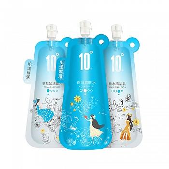 中国•10度水漾鲜活锁水套装(洁面乳100g+爽肤水100ml+精华乳100ml)