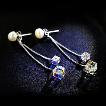 戴拉  S925银气质珍珠长款耳环
