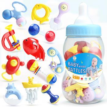 奥智嘉奶瓶摇铃12件套随机颜色