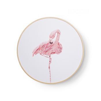 寓义 火烈鸟圆形装饰画