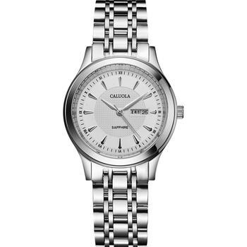 卡罗莱银壳白面防水钢时尚女腕表