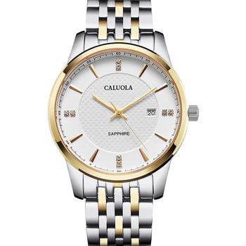 手表钢带黄金壳白面防水男士手表