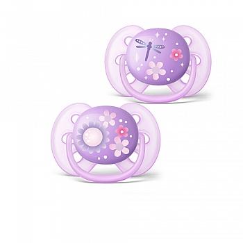 飞利浦新安怡马卡龙卡通安抚奶嘴(6-18个月)紫色对装 SCF227/22