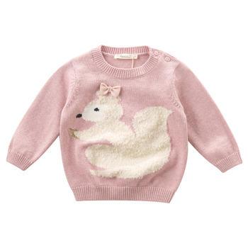 davebella秋季新款女童针织衫粉紫色