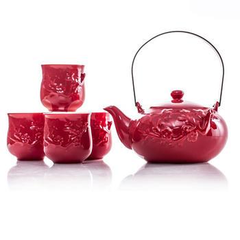 多样屋 蝶舞红梅1壶4杯茶具组