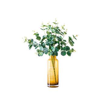 奇居良品 茶色花瓶配20头龙加利叶