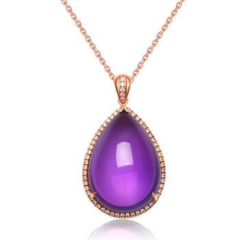 今上珠宝 18K金钻石吊坠紫水晶