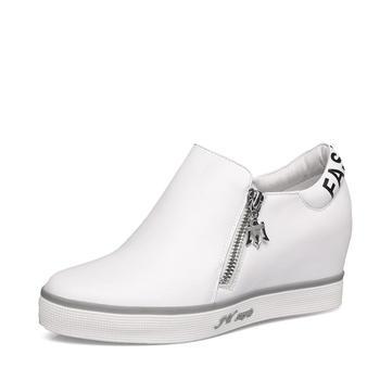 艾米奇牛皮内增高双侧拉链休闲鞋
