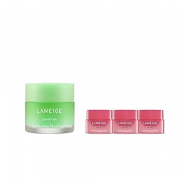 韩国•兰芝(LANEIGE)夜间保湿修护唇膜 苹果青柠4件套组