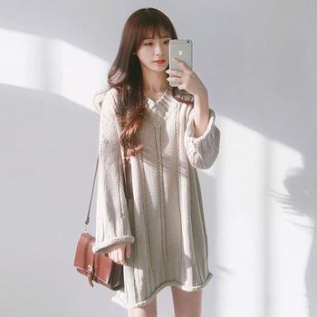 衣织优美   针织衫女长袖毛衣裙