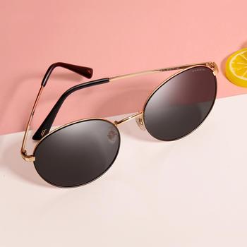 帕森 偏光太阳镜女 金属幼圆摩登时尚驾驶潮墨镜
