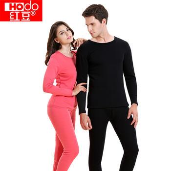红豆羊毛保暖内衣男女情侣套装