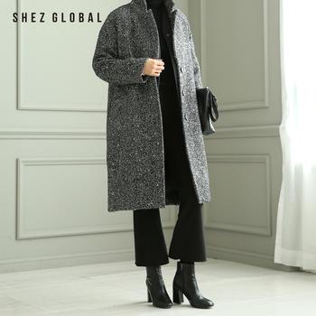 韩国SZ羊毛呢大衣女新款宽松格子