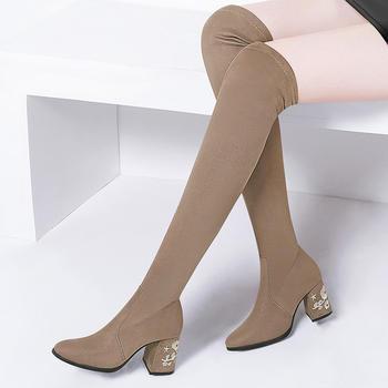 ?#25351;?#24377;力靴子高筒百搭韩版长筒靴